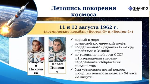 Летопись покорения космоса 11 и 12 августа 1962 г. (космические корабли «Восток‑3» и «Восток‑4») первый в мире групповойкосмический полёт; поддерживалась радиосвязь между кораблями и Землёй; по телевизионной сети СССР иИнтервидения впервые передавались изображения космонавтов; был установлен новый рекорд продолжительности полёта – 94 часа 22 минуты.  Андриян Николаев Павел Попович
