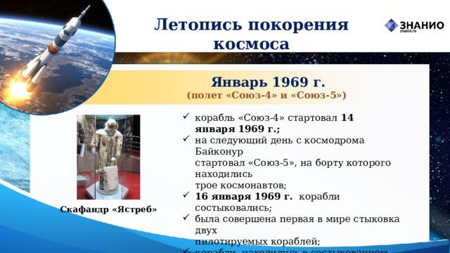 Летопись покорения космоса Январь 1969 г. (полет «Союз‑4» и «Союз‑5») корабль «Союз-4» стартовал 14 января1969 г.; на следующий день с космодрома Байконур  стартовал «Союз-5», на борту которого находились  трое космонавтов; 16 января1969 г. корабли состыковались; была совершена первая в мире стыковка двух  пилотируемых кораблей; корабли находились в состыкованном состоянии  4 часа 35 минут. Скафандр «Ястреб»
