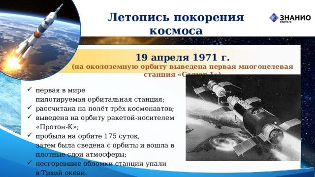 Летопись покорения космоса 19 апреля 1971 г. (на околоземную орбиту выведена первая многоцелевая станция «Салют-1»)