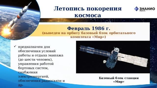 Летопись покорения космоса Февраль 1986 г. (выведен на орбиту базовый блок орбитального комплекса «Мир») предназначен для обеспечения условий работы и отдыха экипажа (до шести человек), управления работой бортовых систем, снабжения электроэнергией, обеспечения радиосвязи и др. Базовый блок станции «Мир»