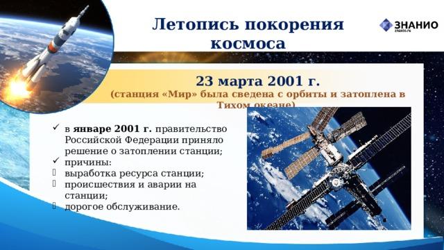 Летопись покорения космоса 23 марта 2001 г. (станция «Мир» была сведена с орбиты и затоплена в Тихом океане)