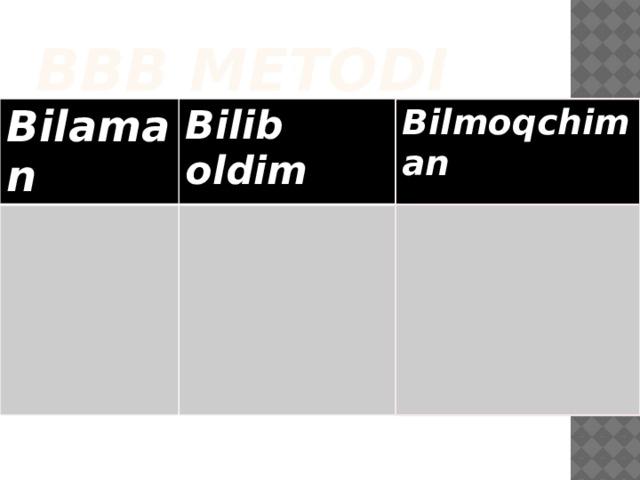 BBB metodi Bilaman Bilib oldim Bilmoqchiman