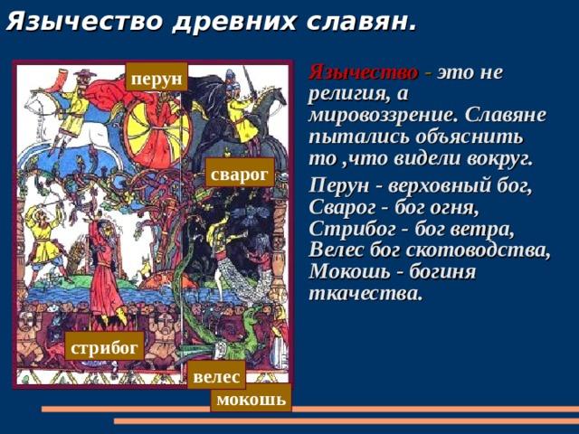 Язычество древних славян. Язычество  - это не религия, а мировоззрение. Славяне пытались объяснить то ,что видели вокруг. Перун - верховный бог, Сварог - бог огня, Стрибог - бог ветра, Велес бог скотоводства, Мокошь - богиня ткачества.  перун сварог стрибог велес мокошь