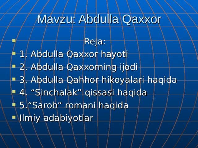 Mavzu: Abdulla Qaxxor