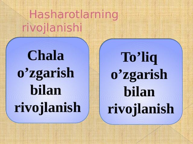 Hasharotlarning rivojlanishi Chala o'zgarish bilan rivojlanish To'liq o'zgarish bilan rivojlanish