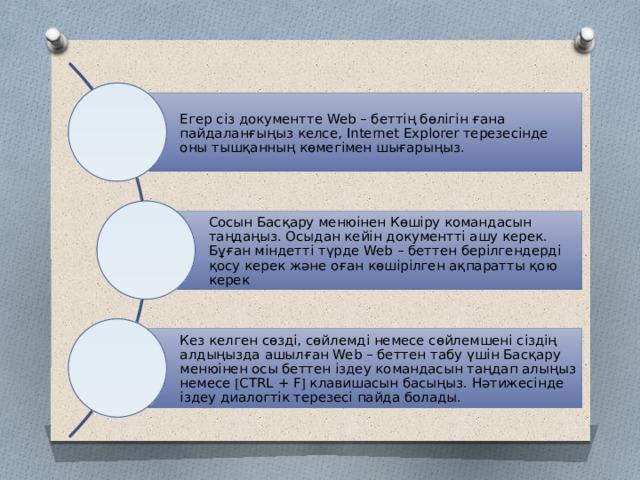 Егер сіз документте Web – беттің бөлігін ғана пайдаланғыңыз келсе, Іnternet Explorer терезесінде оны тышқанның көмегімен шығарыңыз. Сосын Басқару менюінен Көшіру командасын таңдаңыз. Осыдан кейін документті ашу керек. Бұған міндетті түрде Web – беттен берілгендерді қосу керек және оған көшірілген ақпаратты қою керек Кез келген сөзді, сөйлемді немесе сөйлемшені сіздің алдыңызда ашылған Web – беттен табу үшін Басқару менюінен осы беттен іздеу командасын таңдап алыңыз немесе  CTRL + F  клавишасын басыңыз. Нәтижесінде іздеу диалогтік терезесі пайда болады.