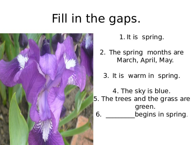 Fill in the gaps. It is spring.  The spring months are March, April, May.  It is warm in spring. 4. The sky is blue. 5. The trees and the grass are green. 6. _________begins in spring .