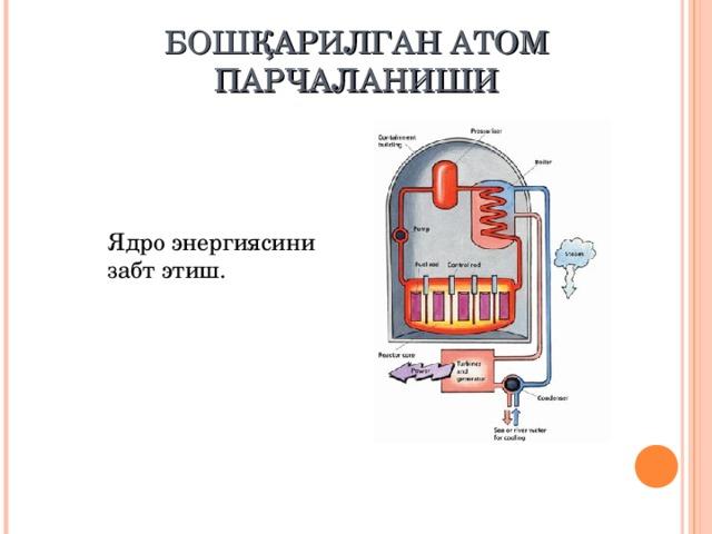БОШҚАРИЛГАН АТОМ ПАРЧАЛАНИШИ Ядро энергиясини забт этиш.