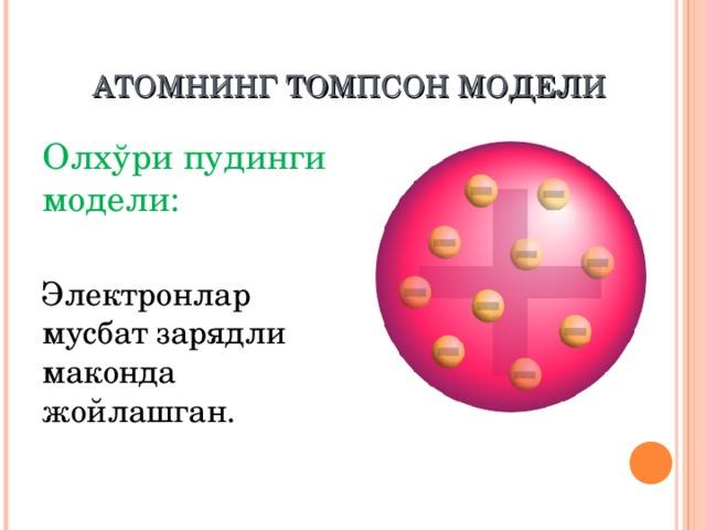 А ТОМ НИНГ ТОМПСОН М ОДЕЛ И  Олхўри пудинг и  модели:  Электрон лар  мусбат зарядли маконда жойлашган.