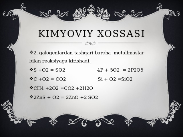 KIMYOVIY XOSSASI