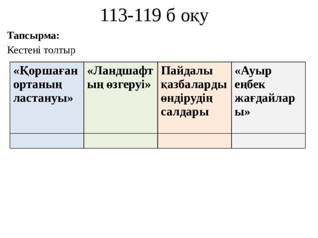 113-119 б оқу Тапсырма: Кестені толтыр «Қоршаған ортаның ластануы»  «Ландшафтың өзгеруі»  Пайдалы қазбаларды өндірудің салдары «Ауыр еңбек жағдайлары»
