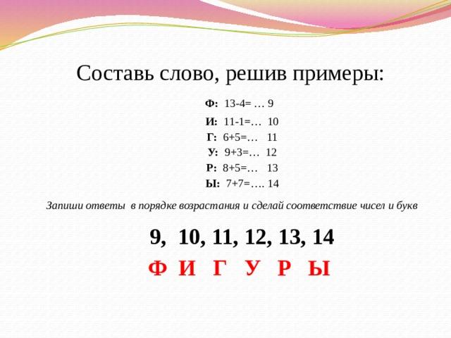 Составь слово, решив примеры:  Ф: 13-4= … 9 И: 11-1=… 10 Г: 6+5=… 11 У: 9+3=… 12 Р: 8+5=… 13 Ы: 7+7=…. 14 Запиши ответы в порядке возрастания и сделай соответствие чисел и букв 9, 10, 11, 12, 13, 14 Ф И Г У Р Ы