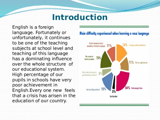 Introduction English is a foreign language. Fortunately or unfortunately, it continues to be one of the teaching subjects at school level and teaching of this language has a dominating influence over the whole structure of our educational system. High percentage of our pupils in schools have very poor achievement in English.Every one new feels that a crisis has arisen in the education of our country.