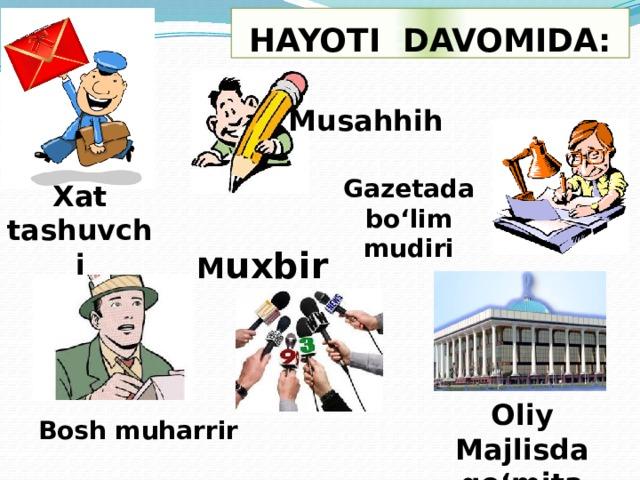 HAYOTI DAVOMIDA: Musahhih Gazetada bo'lim mudiri Xat tashuvchi M uxbir Oliy Majlisda qo'mita raisi Bosh muharrir