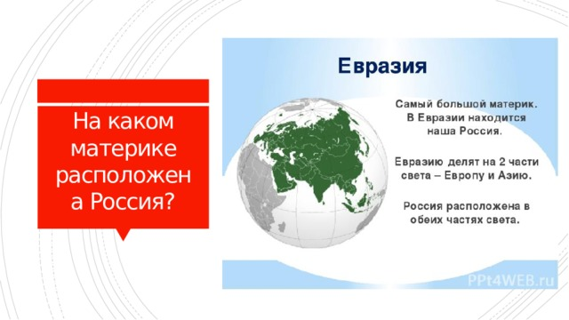 На каком материке расположена Россия?