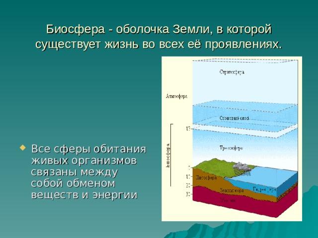 Биосфера - оболочка Земли, в которой существует жизнь во всех её проявлениях.