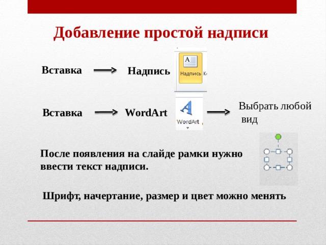 Добавление простой надписи Вставка Надпись Выбрать любой  вид Вставка WordArt После появления на слайде рамки нужно ввести текст надписи. Шрифт, начертание, размер и цвет можно менять