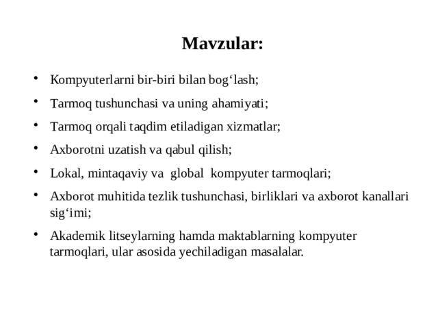 Мavzular: