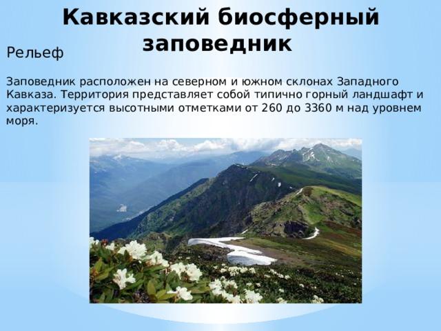 Кавказский биосферный заповедник Рельеф Заповедник расположен на северном и южном склонах Западного Кавказа. Территория представляет собой типично горный ландшафт и характеризуется высотными отметками от 260 до 3360 м над уровнем моря.