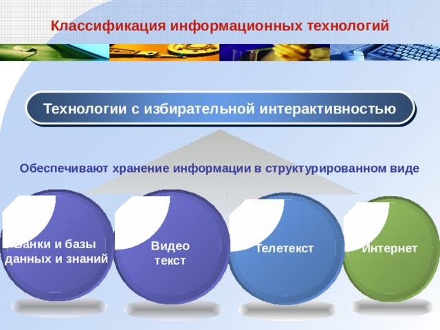 Классификация информационных технологий Технологии с избирательной интерактивностью Обеспечивают хранение информации в структурированном виде Банки и базы данных и знаний Видеотекст Телетекст Интернет