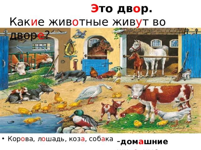 Э то дв о р.  Как и е жив о тные жив у т во двор е ? Кор о ва, л о шадь, коз а , соб а ка - дом а шние жив о тные.
