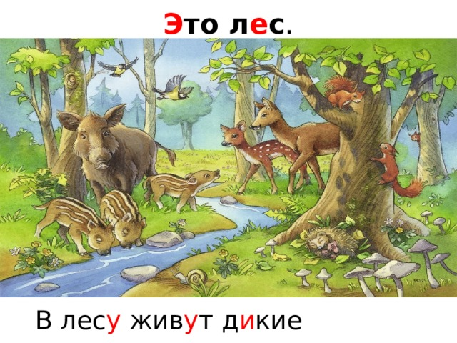Э то л е с . В лес у жив у т д и кие жив о тные .