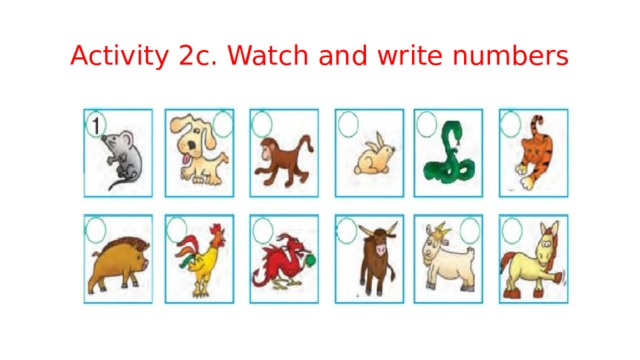 Activity 2c. Watch and write numbers