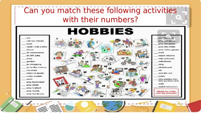 Can you match these following activities with their numbers?
