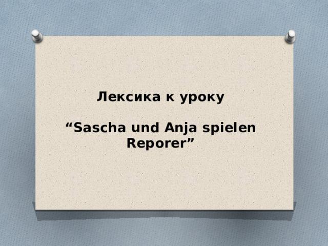 "Лексика к уроку   ""Sascha und Anja spielen Reporer"""