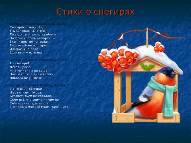 Стихи о снегирях Автор: Кондратьев Юрий, 10 лет Снегирёк, снегирёк, Ты, как красный огонёк. Ты сидишь в гроздях рябины На фоне красочной картины Всем известно наперёд- Тебя озноб не проберёт. И морозы не беда, Если вволю есть еда.  Автор: Цаплина Анастасия,8 лет Я – снегирь! Летать умею. Мне тепло - не по душе! Ночью сплю, а днем летаю. Никогда не унываю!  Автор: Яковлева Ксения, 11 лет Я снегирь – обжора! И зовут меня Жора. Безопетитьем не страдаю Съем всё, что увижу и поймаю. Сейчас зима, еды не стало Я ем всё, а мне всё мало, мало, мало……