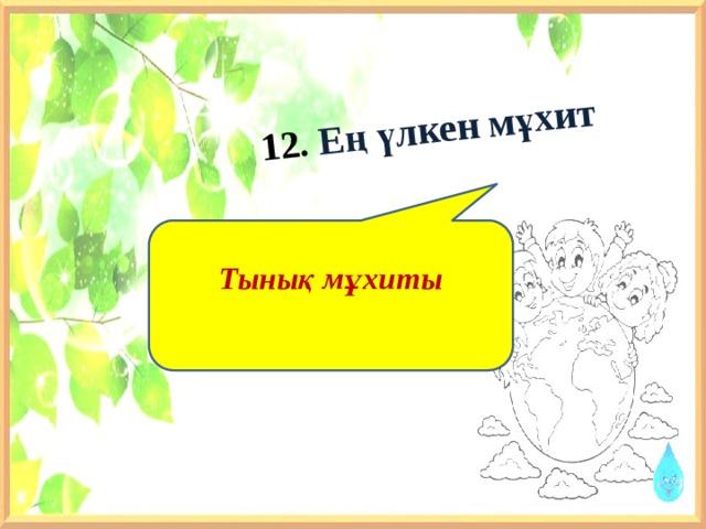 12. Ең үлкен мұхит    Тынық мұхиты