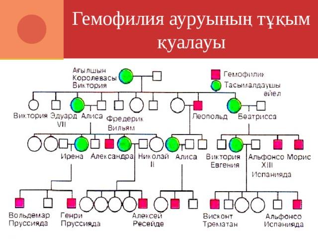 Гемофилия ауруының тұқым қуалауы