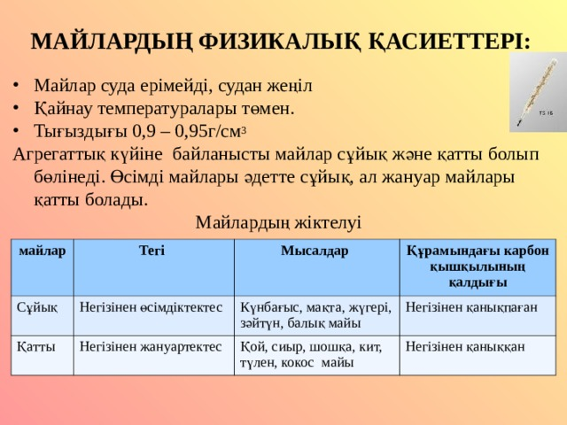 МАЙЛАРДЫҢ ФИЗИКАЛЫҚ ҚАСИЕТТЕРІ: Майлар суда ерімейді, судан жеңіл Қайнау температуралары төмен. Тығыздығы 0,9 – 0,95г/см 3 Агрегатты қ күйіне байланысты майлар сұйық және қатты болып бөлінеді. Өсімді майлары әдетте сұйық, ал жануар майлары қатты болады. Майлардың жіктелуі майлар Тегі Сұйық Мысалдар Қатты Негізінен өсімдіктектес Құрамындағы карбон қышқылының қалдығы Күнбағыс, мақта, жүгері, зәйтүн, балық майы Негізінен жануартектес Негізінен қанықпаған Қой, сиыр, шошқа, кит, түлен, кокос майы Негізінен қаныққан