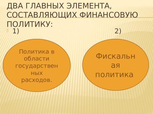 Два главных элемента, составляющих финансовую политику: 1) 2) Политика в области государственных расходов. Фискальная политика