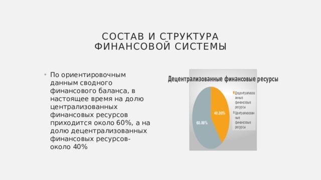 Состав и структура финансовой системы
