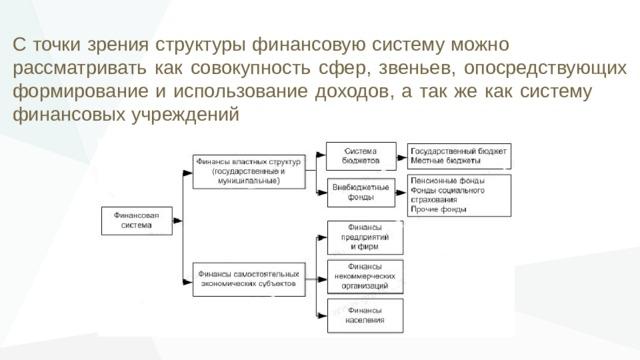 С точки зрения структуры финансовую систему можно рассматривать как совокупность сфер, звеньев, опосредствующих формирование и использование доходов, а так же как систему финансовых учреждений