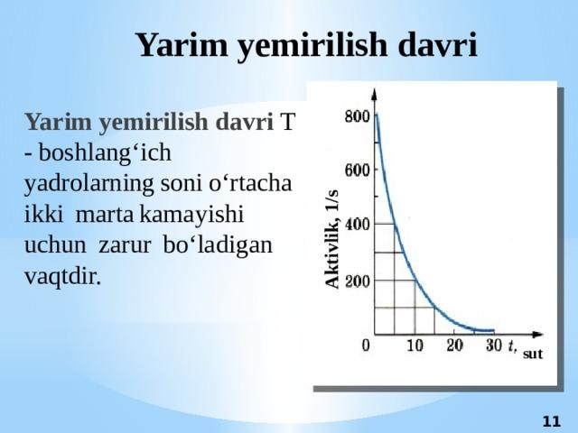 Aktivlik, 1/s Yarim yemirilish davri Yarim yemirilish davri T - boshlang'ichyadrolarningsonio'rtachaikki martakamayishiuchun zarur bo'ladigan vaqtdir. sut 11 11