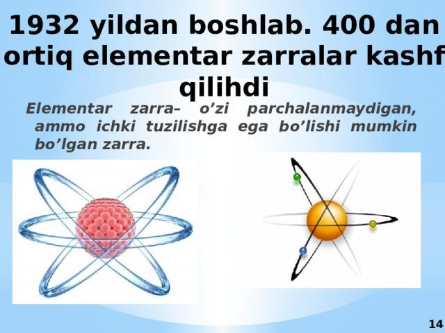 1932 yildan boshlab. 400 dan ortiq elementar zarralar kashf qilihdi Elementar zarra– o'zi parchalanmaydigan, ammo ichki tuzilishga ega bo'lishi mumkin bo'lgan zarra. 14