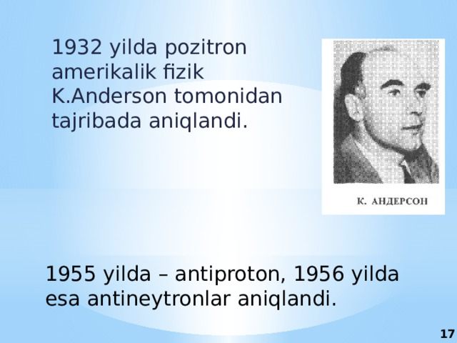 1932 yilda pozitron amerikalik fizik K.Anderson tomonidan tajribada aniqlandi. 1955 yilda – antiproton, 1956 yilda esa antineytronlar aniqlandi. 17
