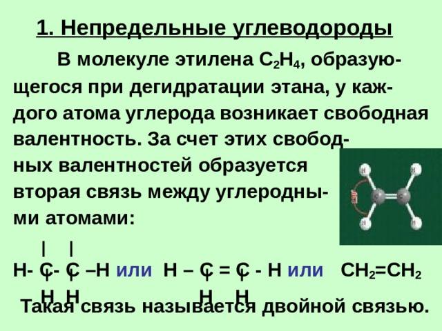 1. Непредельные углеводороды   В молекуле этилена  С 2 Н 4 , образую- щегося при дегидратации этана, у каж- дого атома углерода возникает свободная валентность. За счет этих свобод- ных валентностей образуется вторая связь между углеродны- ми атомами:  Н- С- С –Н или Н – С = С - Н или СН 2 =СН 2  Н Н Н Н Такая связь называется двойной связью.