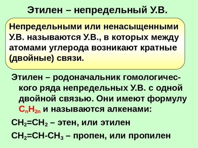 Этилен – непредельный У.В. Непредельными или ненасыщенными У.В. называются У.В., в которых между атомами углерода возникают кратные (двойные) связи. Этилен – родоначальник гомологичес-кого ряда непредельных У.В. с одной двойной связью. Они имеют формулу C n H 2n  и называются алкенами: СН 2 =СН 2 – этен, или этилен СН 2 =СН-СН 3 – пропен, или пропилен