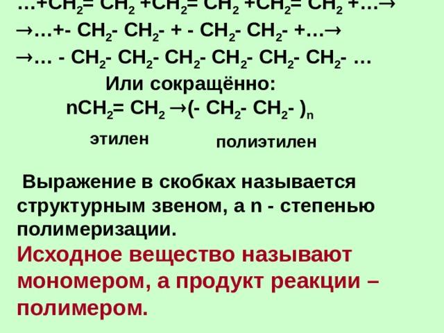 … +СН 2 = СН 2 +СН 2 = СН 2 +СН 2 = СН 2 +…    …+- СН 2 - СН 2 - + - СН 2 - СН 2 - +…    … - СН 2 - СН 2 - СН 2 - СН 2 - СН 2 - СН 2 - …     Или сокращённо:  n СН 2 = СН 2   (- СН 2 - СН 2 - ) n    Выражение в скобках называется структурным звеном, а n - степенью полимеризации.  Исходное вещество называют мономером, а продукт реакции – полимером.      этилен полиэтилен