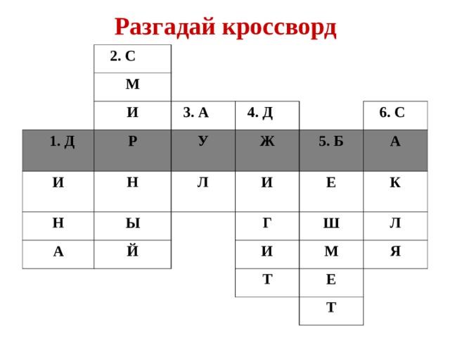 Разгадай кроссворд   2. С М  И  1. Д  3. А Р  И  4. Д У Н Н  Ж Ы А Л  6. С  5. Б И Й А Е Г К Ш И Л М Т Я Е Т
