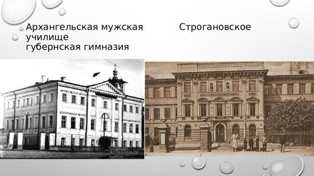 Архангельская мужская    Строгановское училище  губернская гимназия