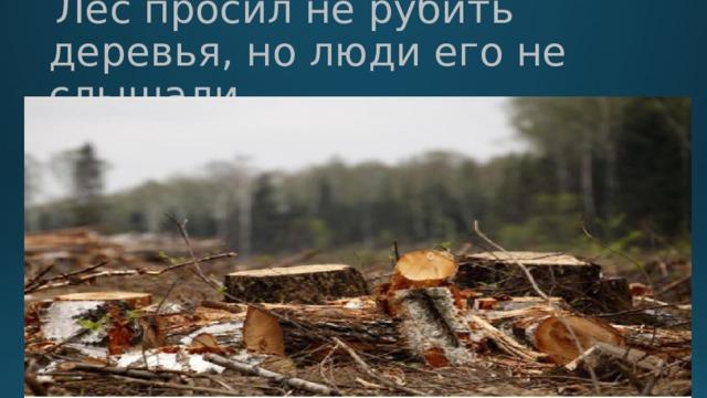 Лес просил не рубить деревья, но люди его не слышали.