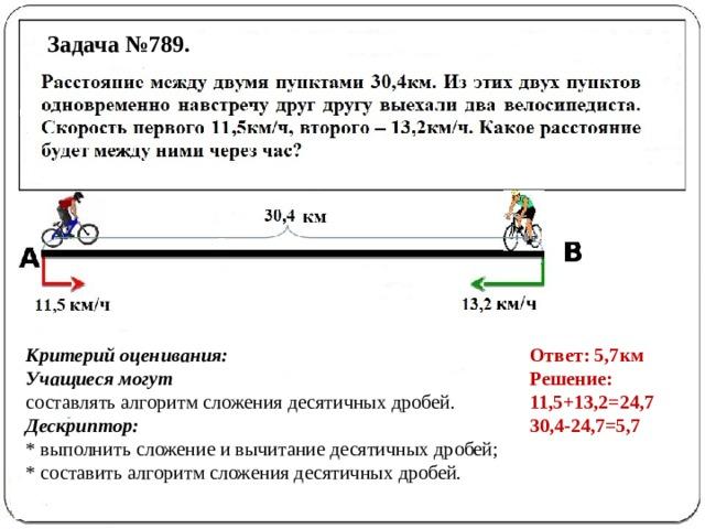 Задача №789. Ответ: 5,7км Критерий оценивания: Решение: Учащиеся могут 11,5+13,2=24,7 составлять алгоритм сложения десятичных дробей. 30,4-24,7=5,7 Дескриптор: * выполнить сложение и вычитание десятичных дробей; * составить алгоритм сложения десятичных дробей.