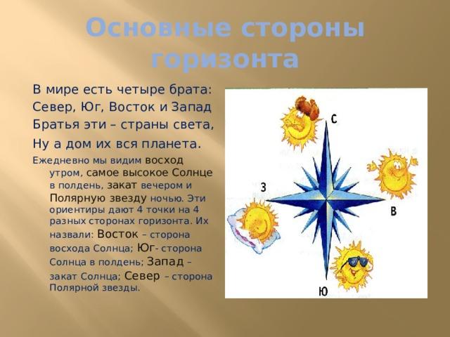 Основные стороны горизонта В мире есть четыре брата: Север, Юг, Восток и Запад Братья эти – страны света, Ну а дом их вся планета . Ежедневно мы видим восход утром, самое высокое Солнце в полдень, закат вечером и Полярную звезду ночью. Эти ориентиры дают 4 точки на 4 разных сторонах горизонта. Их назвали: Восток – сторона восхода Солнца; Юг - сторона Солнца в полдень; Запад – закат Солнца; Север – сторона Полярной звезды.