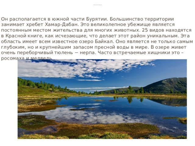 Байкальский заповедник Он располагается в южной части Бурятии. Большинство территории занимает хребет Хамар-Дабан. Это великолепное убежище является постоянным местом жительства для многих животных. 25 видов находятся в Красной книге, как исчезающие, что делает этот район уникальным. Эта область имеет всем известное озеро Байкал. Оно является не только самым глубоким, но и крупнейшим запасом пресной воды в мире. В озере живет очень переборчивый тюлень − нерпа. Часто встречаемые хищники это – росомаха и медведь.