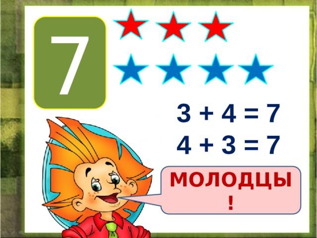 7 3 + 4 = 7 4 + 3 = 7 МОЛОДЦЫ!
