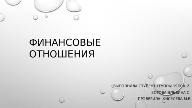 Финансовые отношения  Выполнила студент группы 19ПСА_2  Зотова эльвина с. Проверила: Киселева м.в